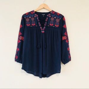 Lucky Brand Lace Up Embroidered Top American Navy